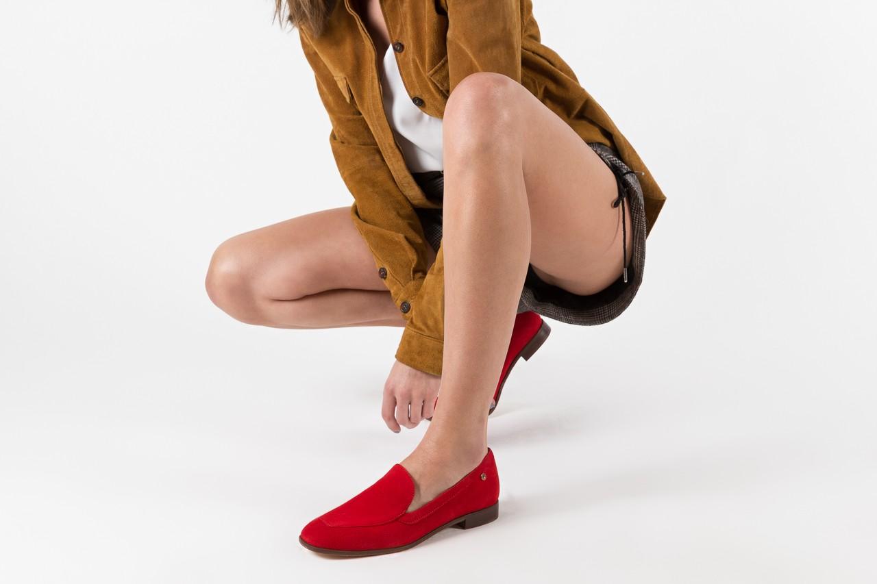 Półbuty bayla-156 3320 czerwony welur, skóra naturalna  - bayla - nasze marki 12