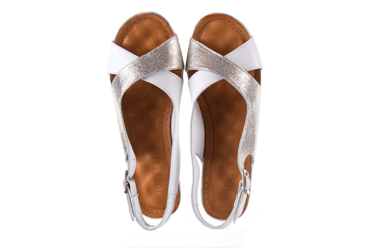 Sandały bayla-112 0158-58 white platinium, biały/srebrny, skóra naturalna  - bayla - nasze marki 11