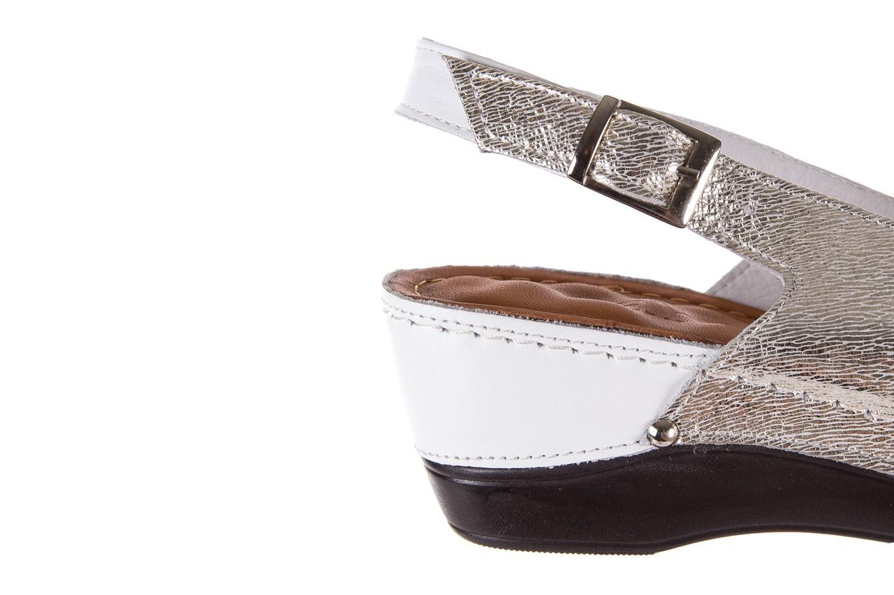 Sandały bayla-112 0158-58 white platinium, biały/srebrny, skóra naturalna  - bayla - nasze marki 12