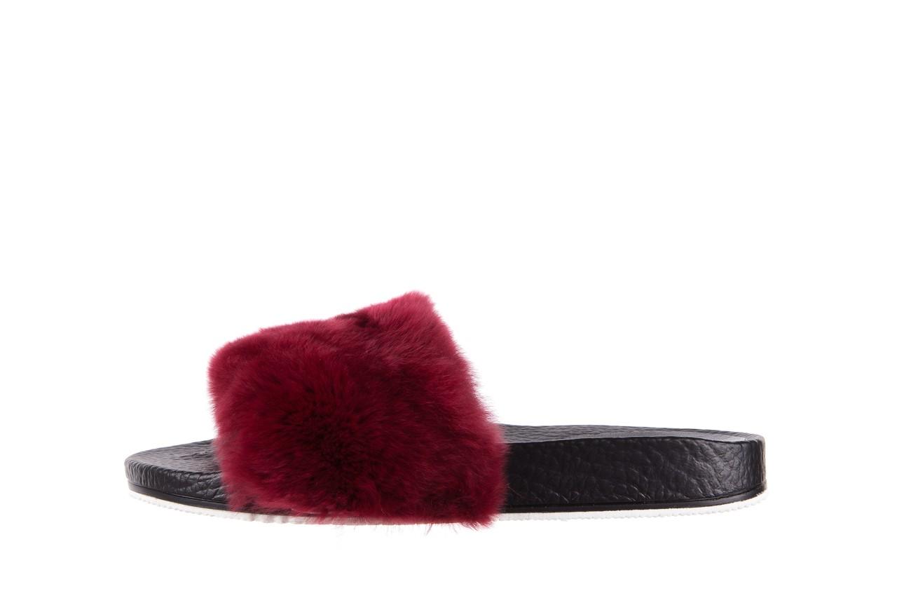Klapki bayla-112 0479-17194 burgundy furry, bordo/czarny, skóra naturalna  - piankowe - klapki - buty damskie - kobieta 9