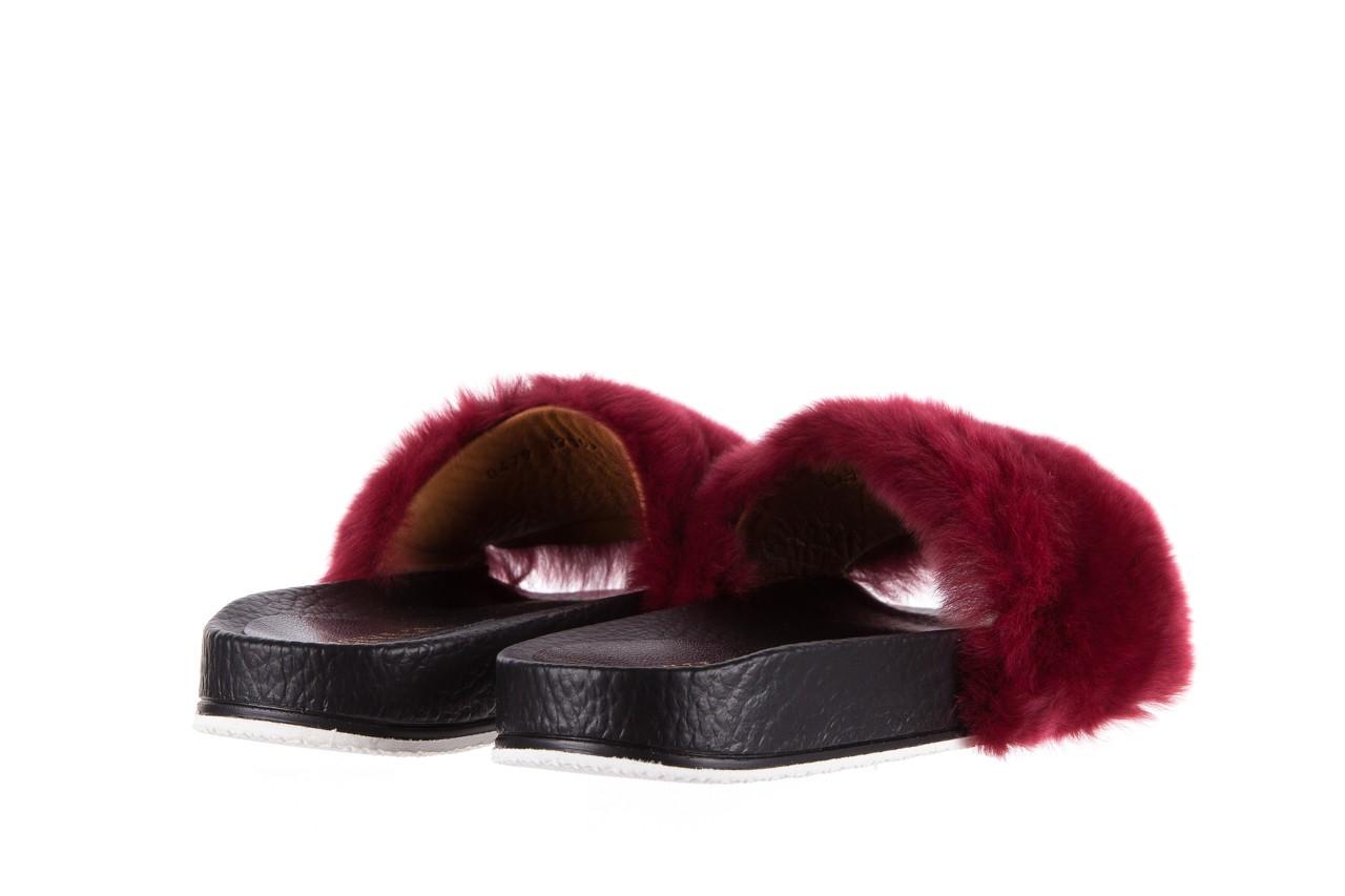 Klapki bayla-112 0479-17194 burgundy furry, bordo/czarny, skóra naturalna  - piankowe - klapki - buty damskie - kobieta 10
