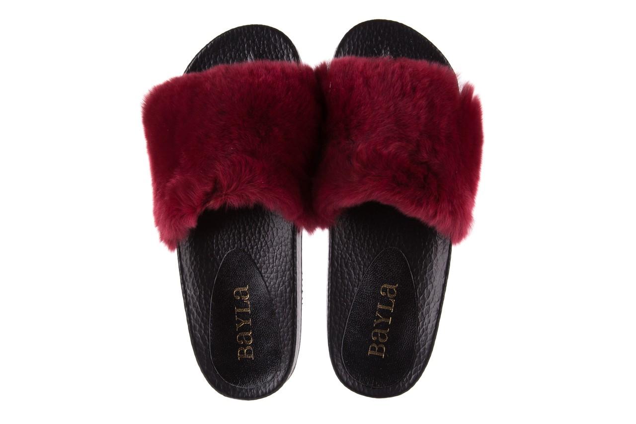 Klapki bayla-112 0479-17194 burgundy furry, bordo/czarny, skóra naturalna  - piankowe - klapki - buty damskie - kobieta 11