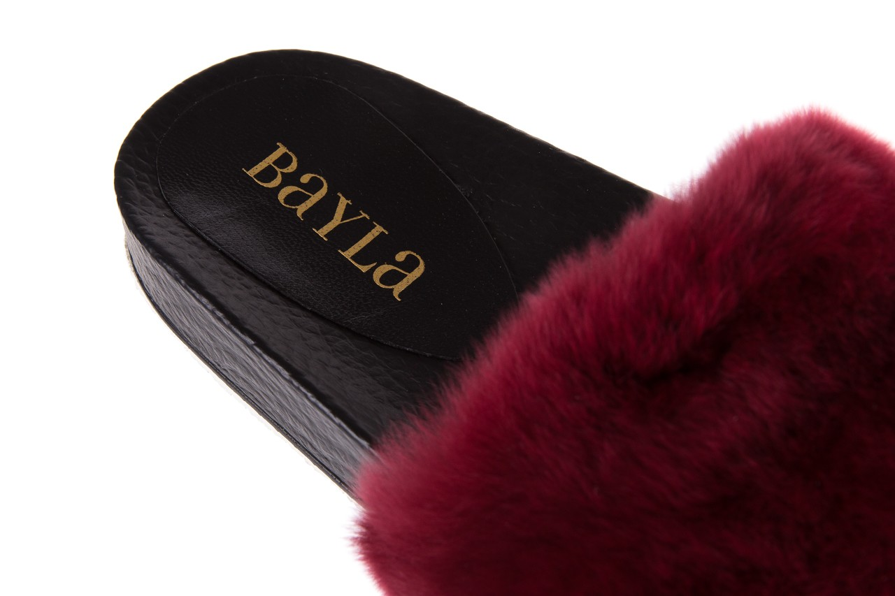 Klapki bayla-112 0479-17194 burgundy furry, bordo/czarny, skóra naturalna  - piankowe - klapki - buty damskie - kobieta 12