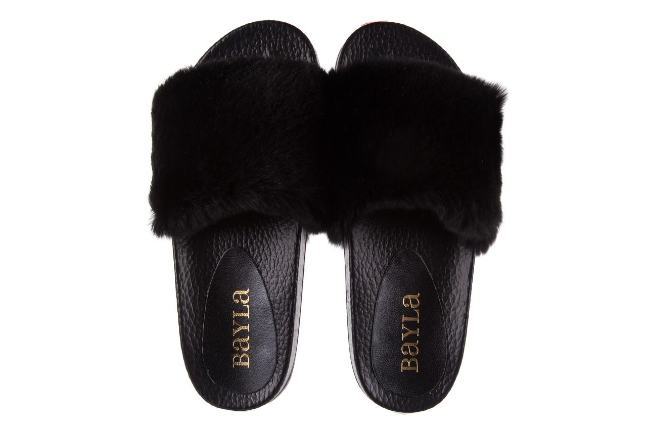Klapki bayla-112 0479-17194 black furry, czarny, skóra naturalna  - piankowe - klapki - buty damskie - kobieta 10