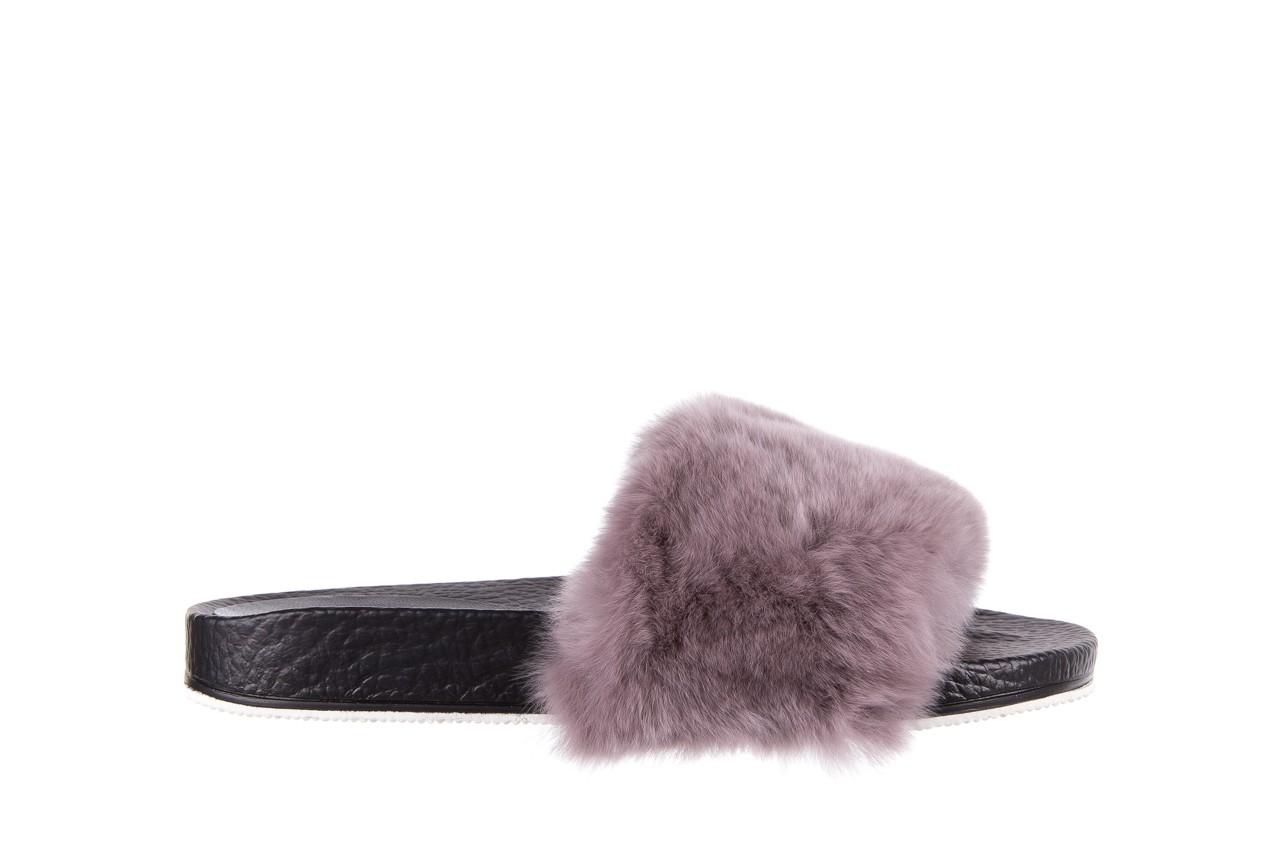 Klapki bayla-112 0479-17194 mink furry, czarny/szary, skóra naturalna - klapki - letnie hity cenowe 6