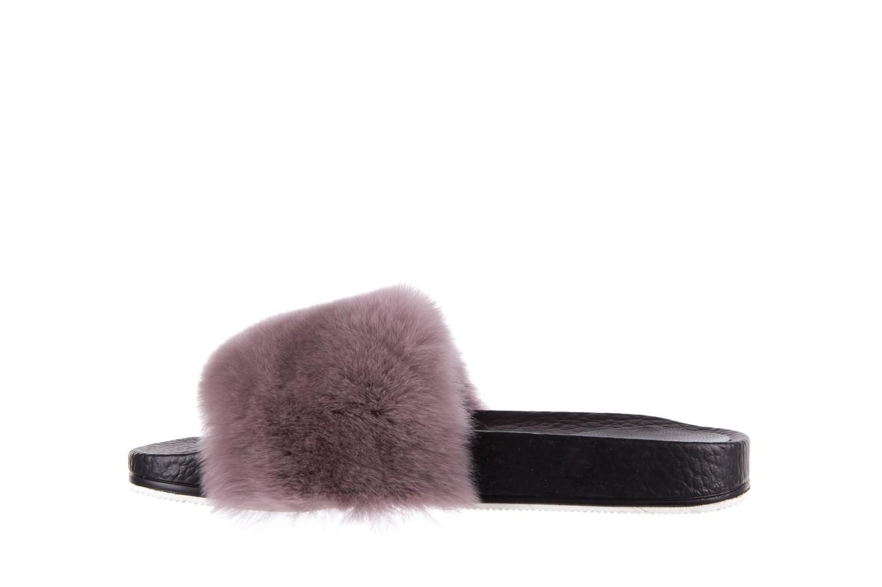 Klapki bayla-112 0479-17194 mink furry, czarny/szary, skóra naturalna - klapki - letnie hity cenowe 8