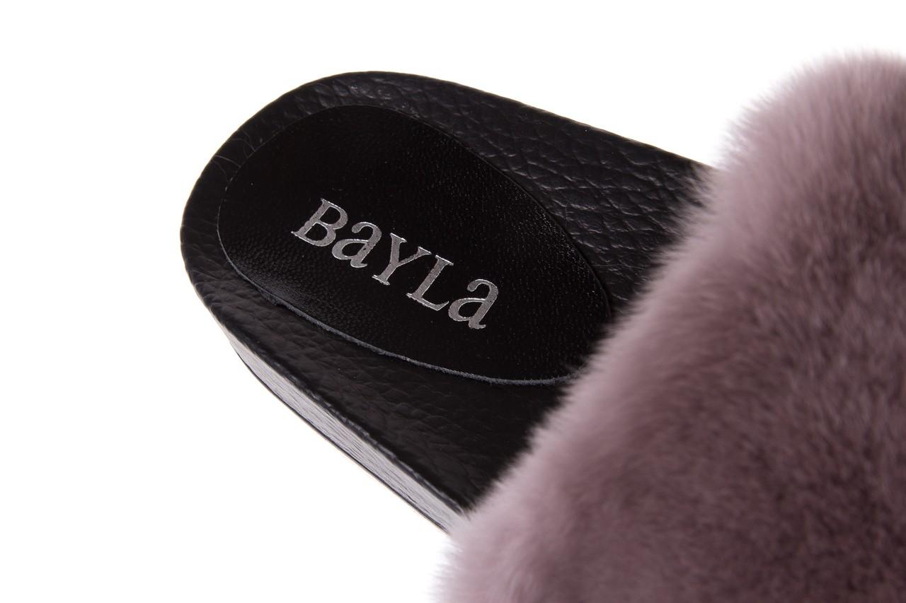 Klapki bayla-112 0479-17194 mink furry, czarny/szary, skóra naturalna - klapki - letnie hity cenowe 11