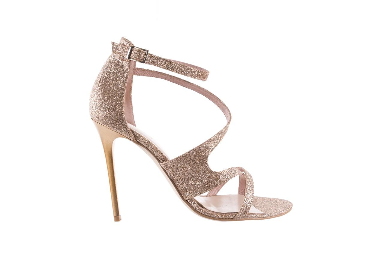 Sandały bayla-097 11 złote sandały na szpilce z glitterem, materiał  - bayla - nasze marki 7