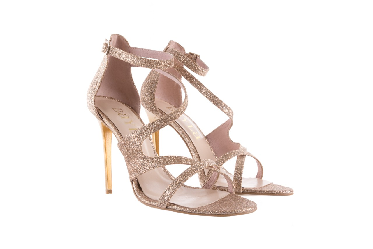 Sandały bayla-097 11 złote sandały na szpilce z glitterem, materiał  - bayla - nasze marki 8