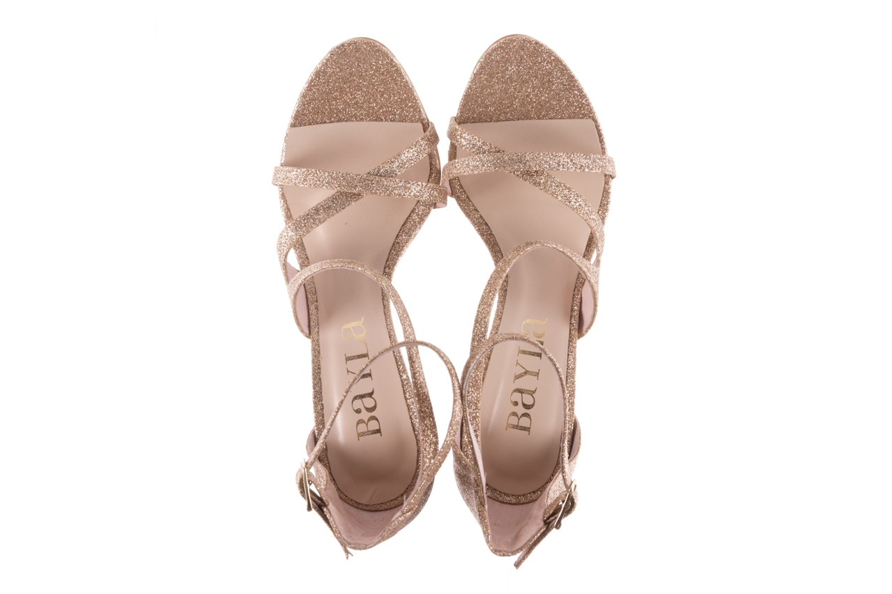 Sandały bayla-097 11 złote sandały na szpilce z glitterem, materiał  - bayla - nasze marki 11