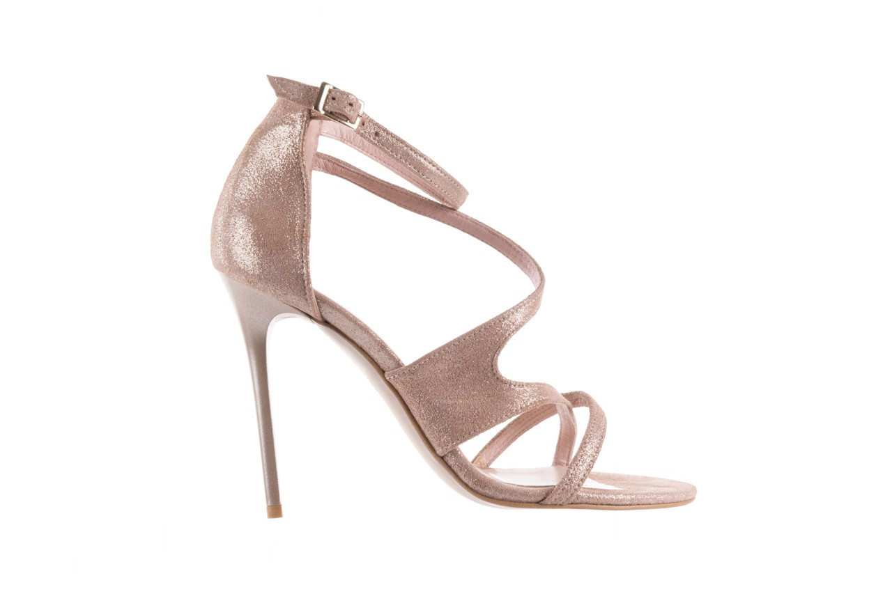 Sandały bayla-097 11 szampańskie sandały na szpilce, skóra naturalna 7
