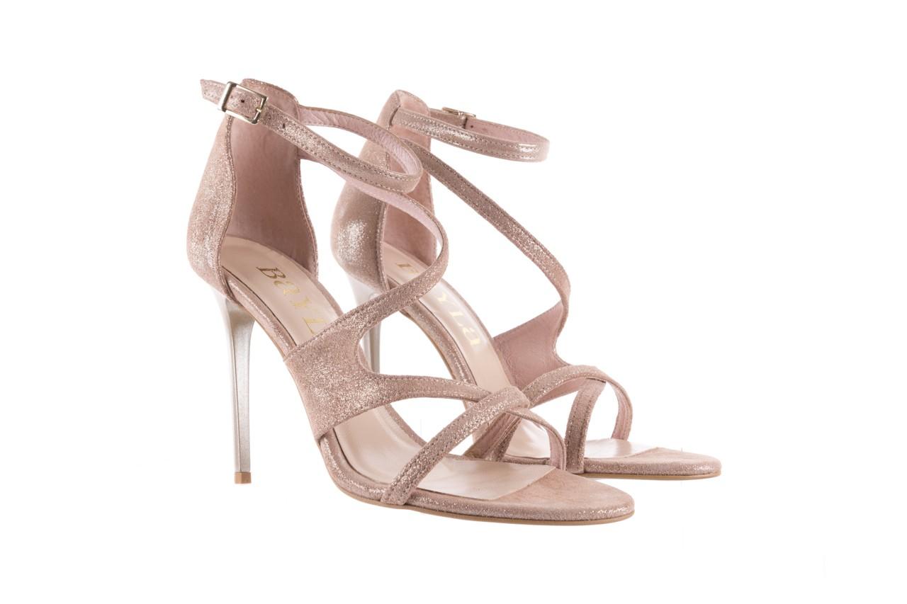 Sandały bayla-097 11 szampańskie sandały na szpilce, skóra naturalna 8