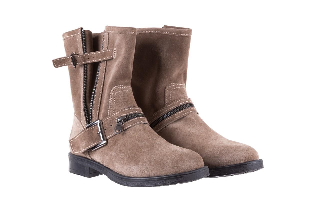 Botki bayla-164 top 25 beige 164007, beż, skóra naturalna  - worker boots - trendy - kobieta 8