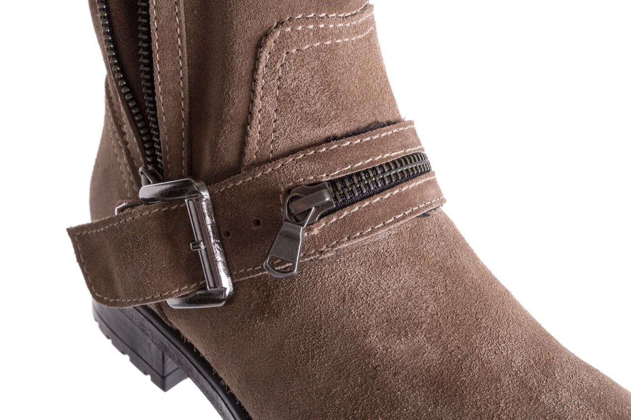 Botki bayla-164 top 25 beige 164007, beż, skóra naturalna  - worker boots - trendy - kobieta 13