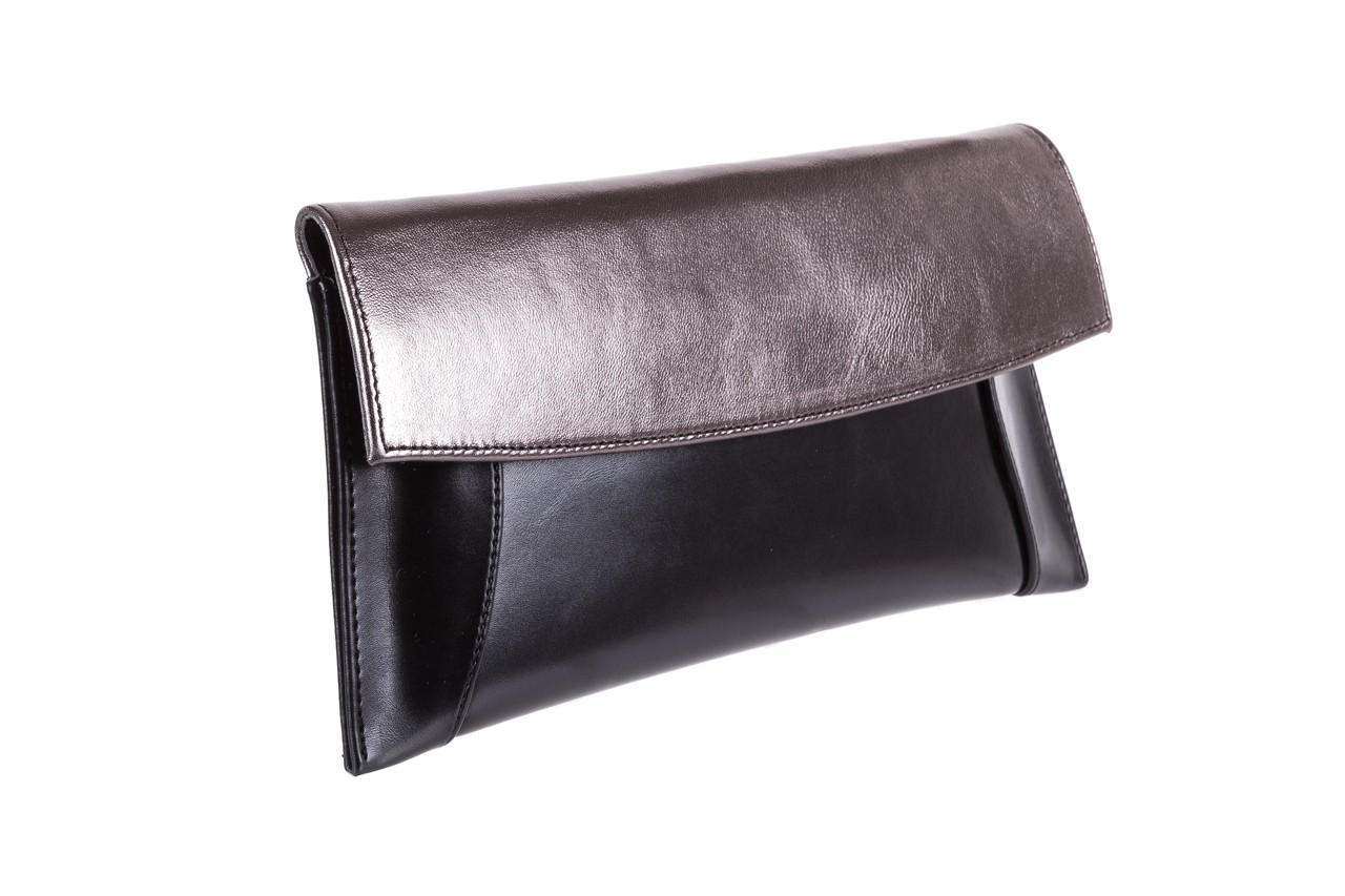 Torebka bayla-097 torebka koperta sandra czarno-srebrna, skóra naturalna  - black week do -40% 5