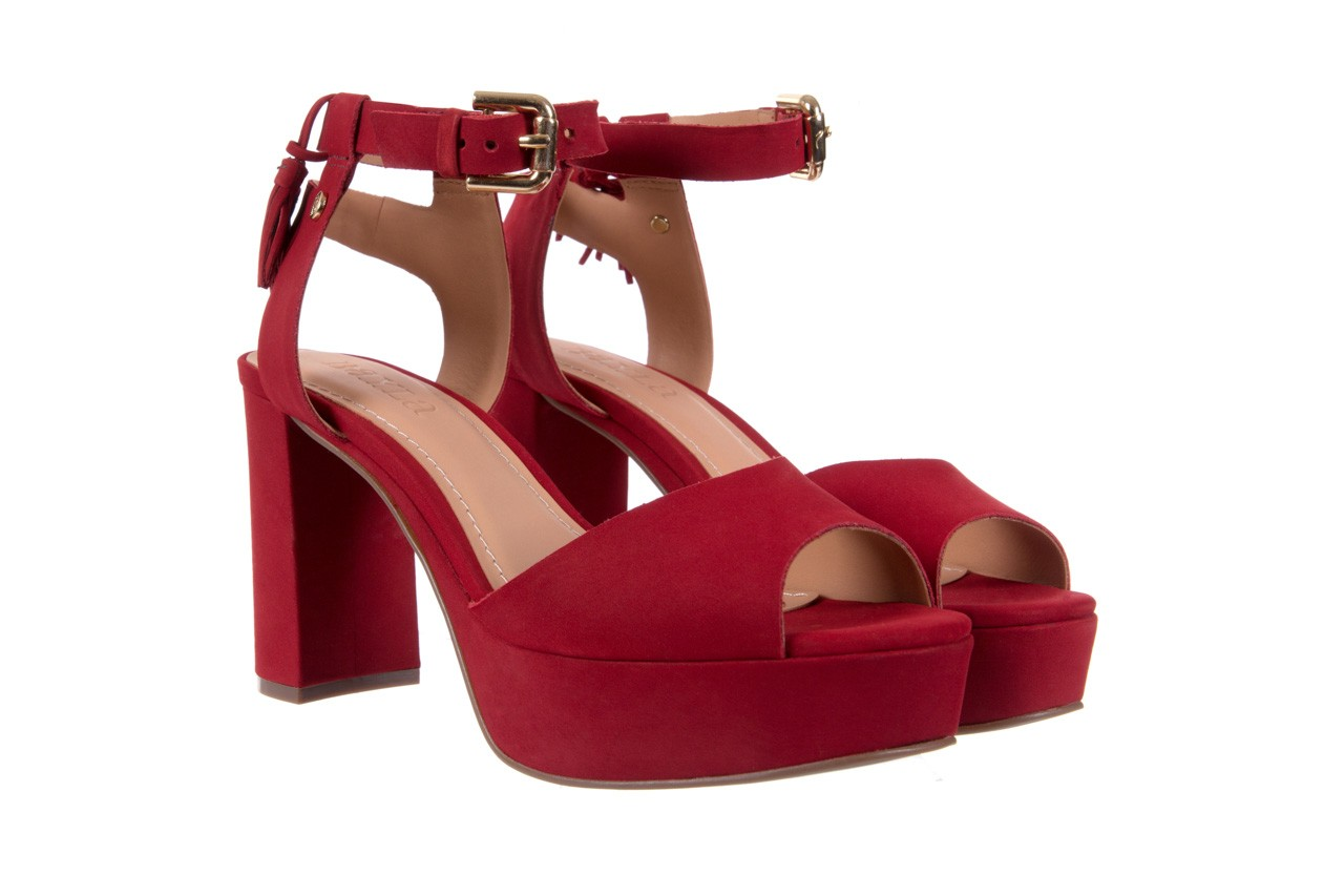 Sandały bayla-067 129006 nobuck red velvet, czerwony, skóra naturalna  - bayla - nasze marki 8