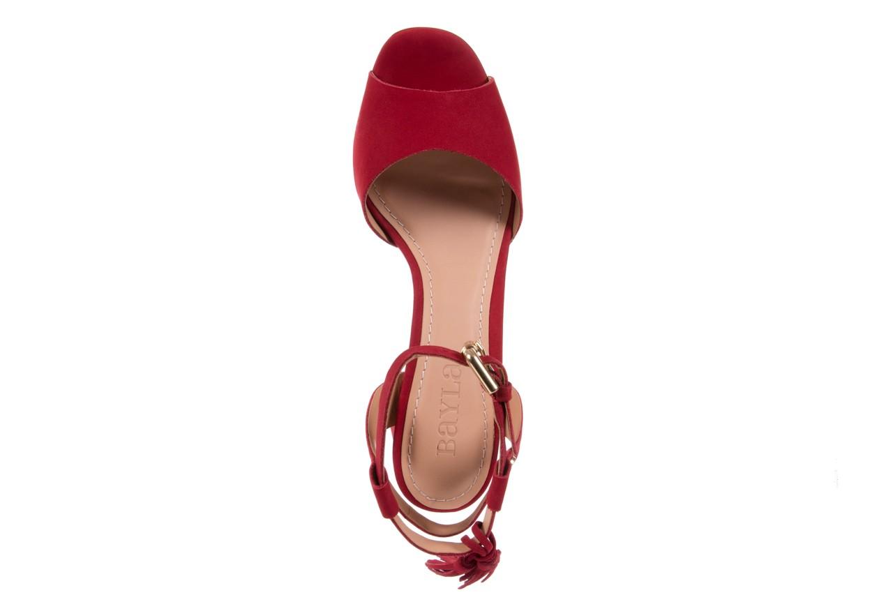 Sandały bayla-067 129006 nobuck red velvet, czerwony, skóra naturalna  - bayla - nasze marki 11