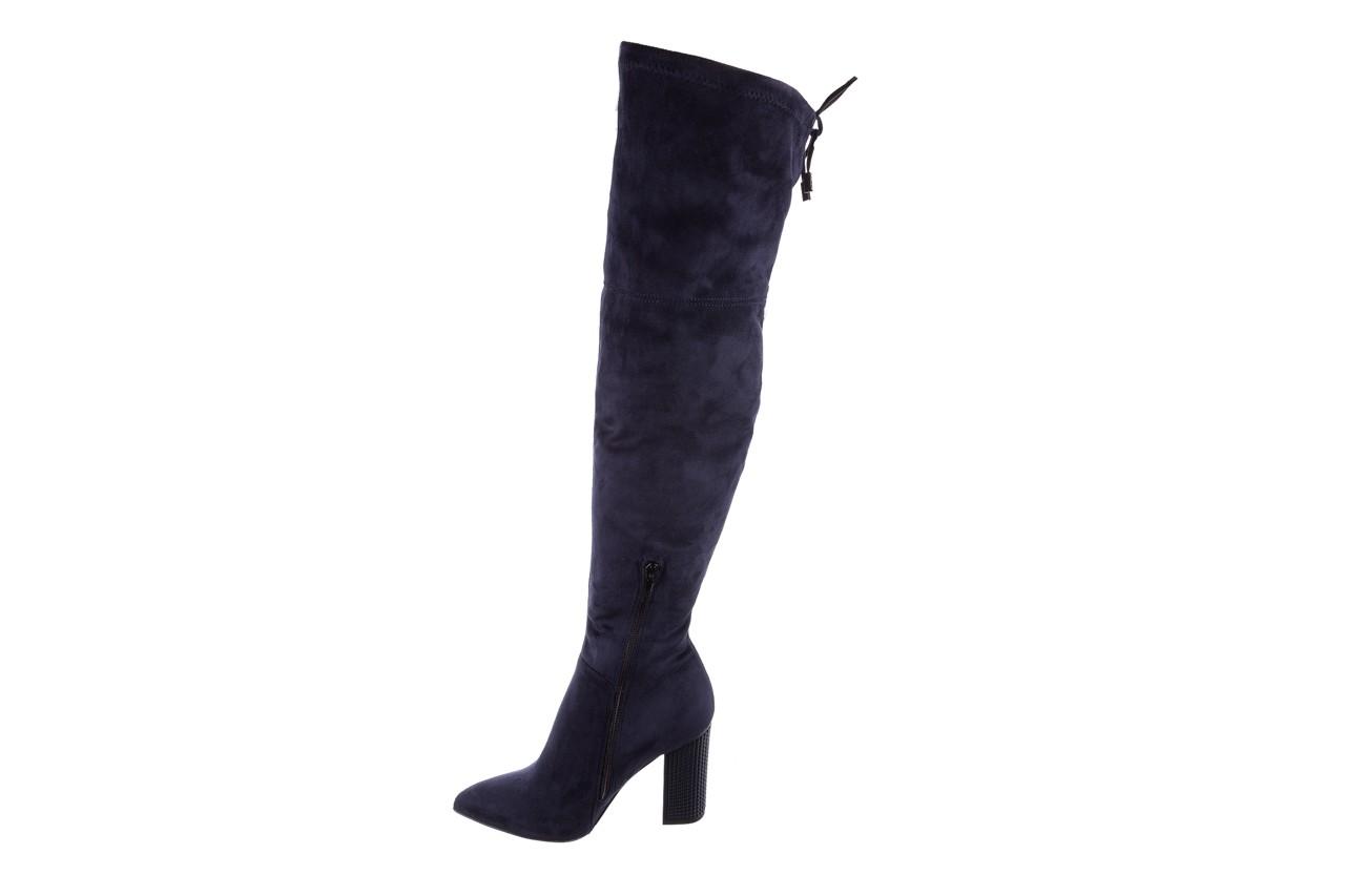 Kozaki bayla-056 9058-1094 granatowy stretch bieżnikowany obcas, skóra ekologiczna - kozaki - buty damskie - kobieta 9