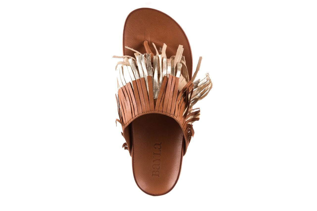 Klapki bayla-163 17-192 nr 1 coconut combi, brąz, skóra naturalna  - japonki - klapki - buty damskie - kobieta 10