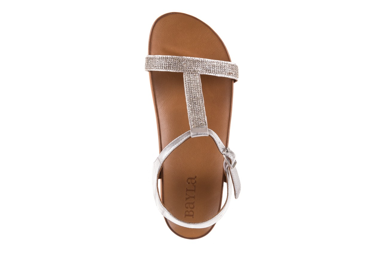 Sandały bayla-163 17-301 silver, srebrne, skóra naturalna 10