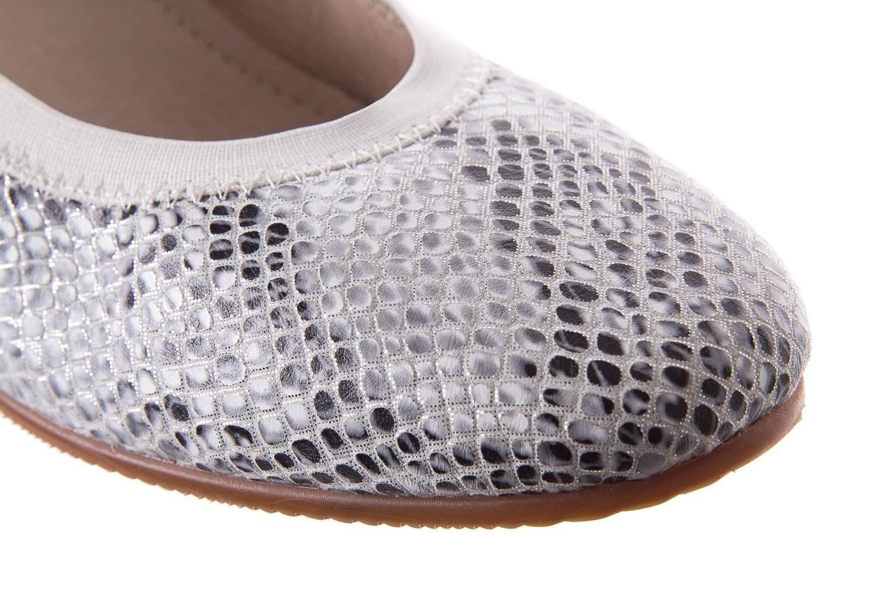 Baleriny bayla-018 1711-5 off white 018528, biały/srebrny, skóra naturalna  - hity cenowe 12