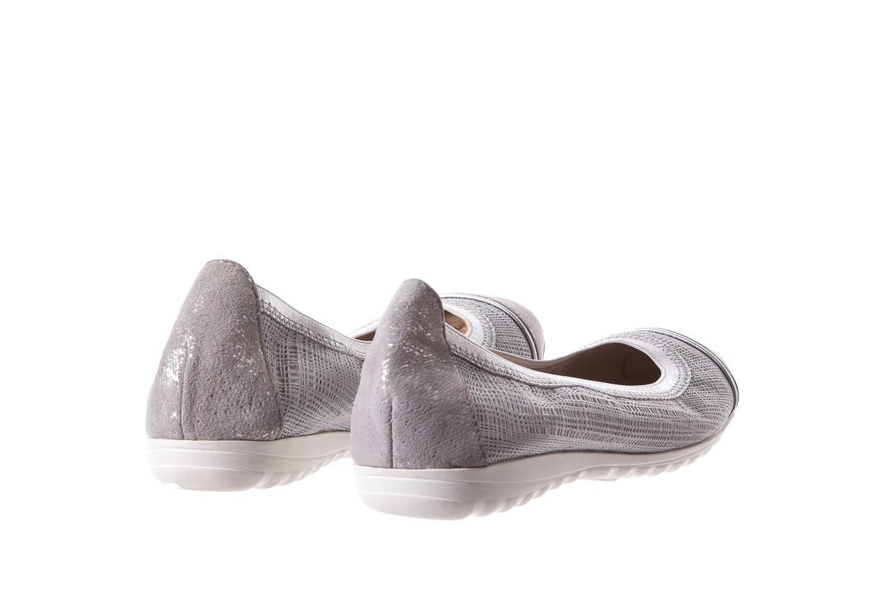 Baleriny bayla-018 1831-5 lt. grey lt. grey silver 018533, szary/srebrny, skóra naturalna 10