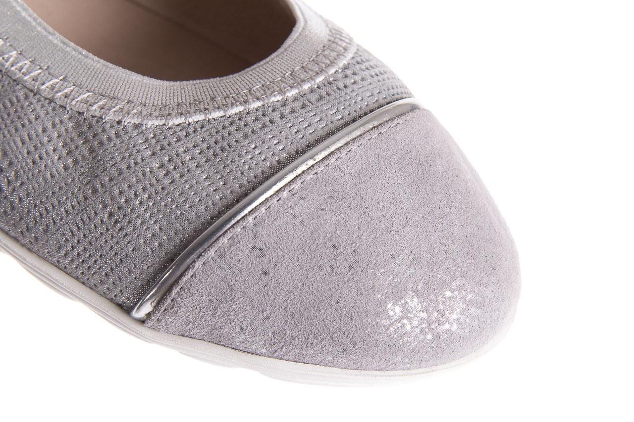 Baleriny bayla-018 1831-5 lt. grey lt. grey silver 018533, szary/srebrny, skóra naturalna 12