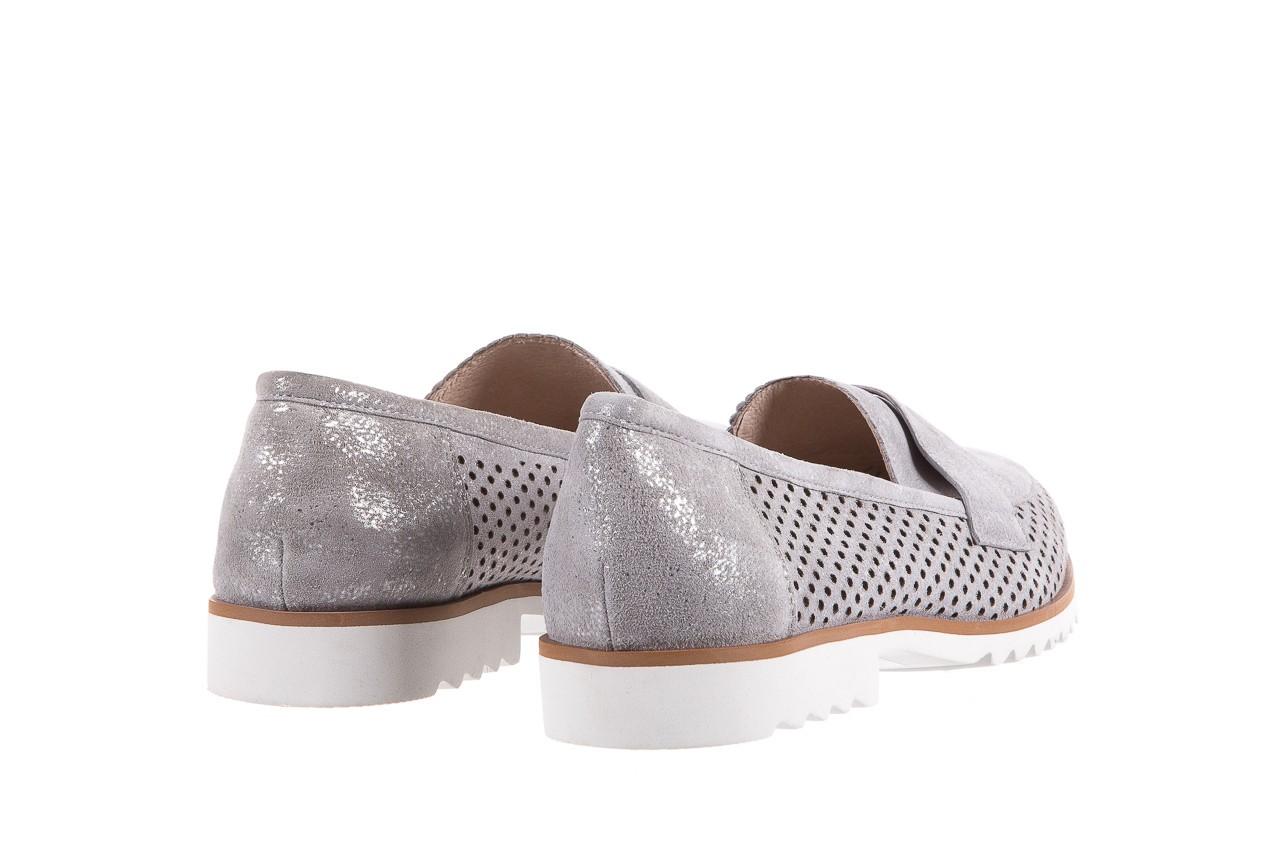 Mokasyny bayla-018 1133-x87 lt. grey 018509, szary, skóra naturalna  - zamszowe - półbuty - buty damskie - kobieta 10
