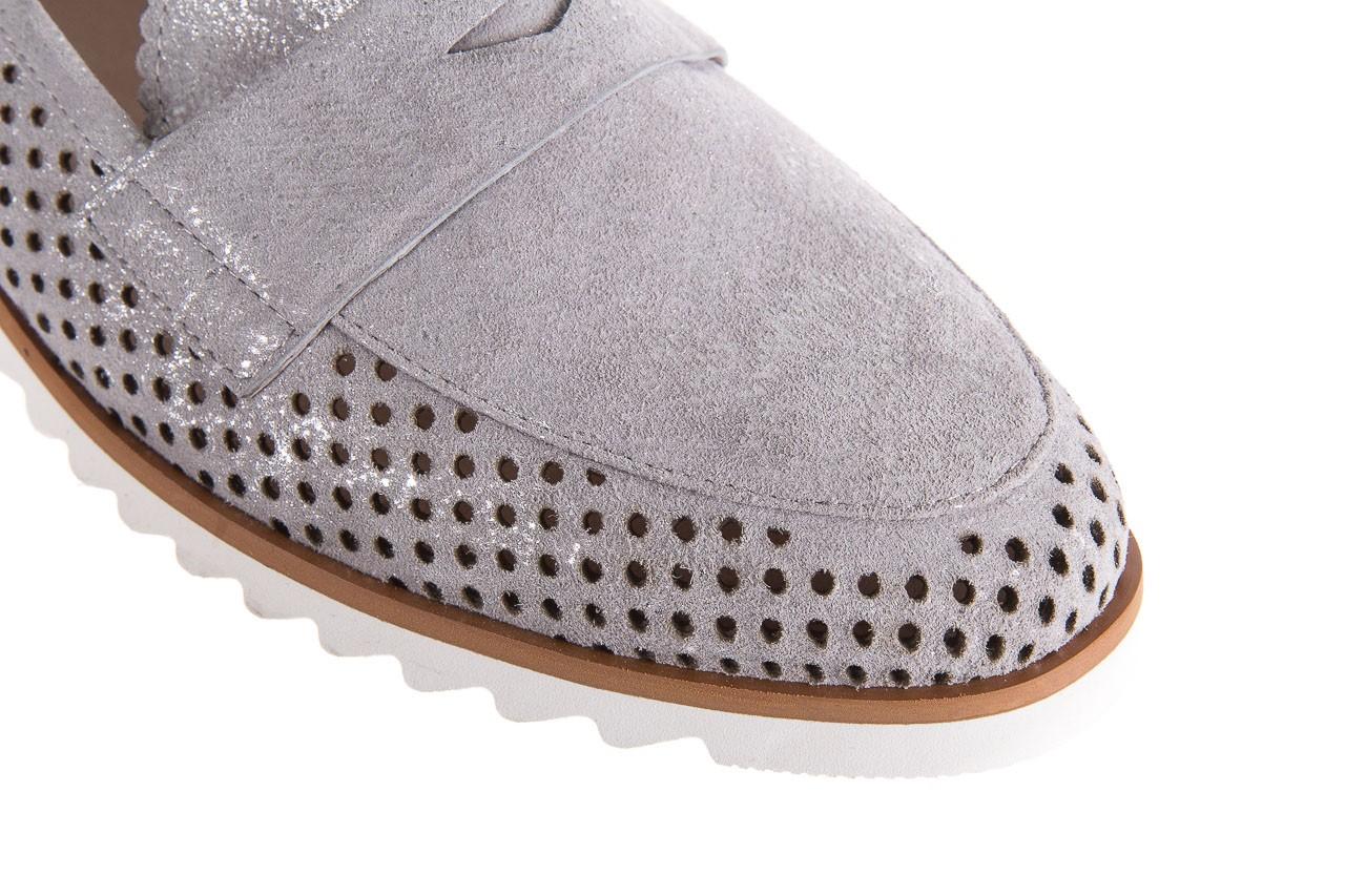 Mokasyny bayla-018 1133-x87 lt. grey 018509, szary, skóra naturalna  - zamszowe - półbuty - buty damskie - kobieta 12