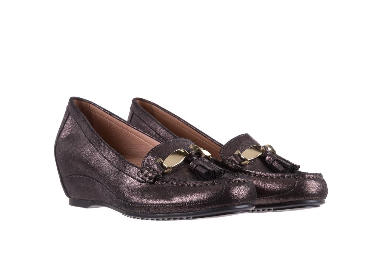 Mokasyny bayla-018 1647-35 grey, czarny, skóra naturalna  - na koturnie - półbuty - buty damskie - kobieta 7