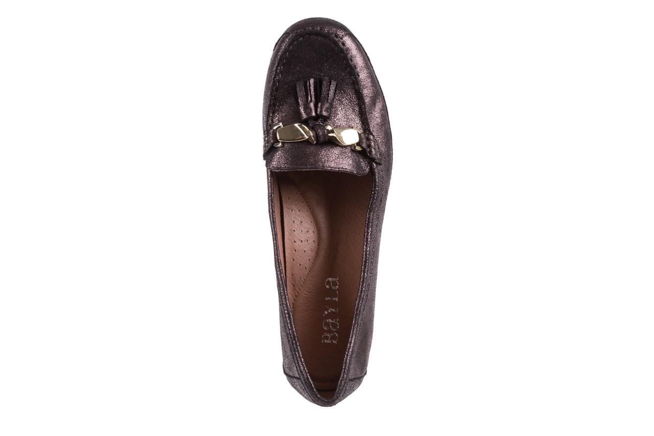 Mokasyny bayla-018 1647-35 grey, czarny, skóra naturalna  - na koturnie - półbuty - buty damskie - kobieta 10