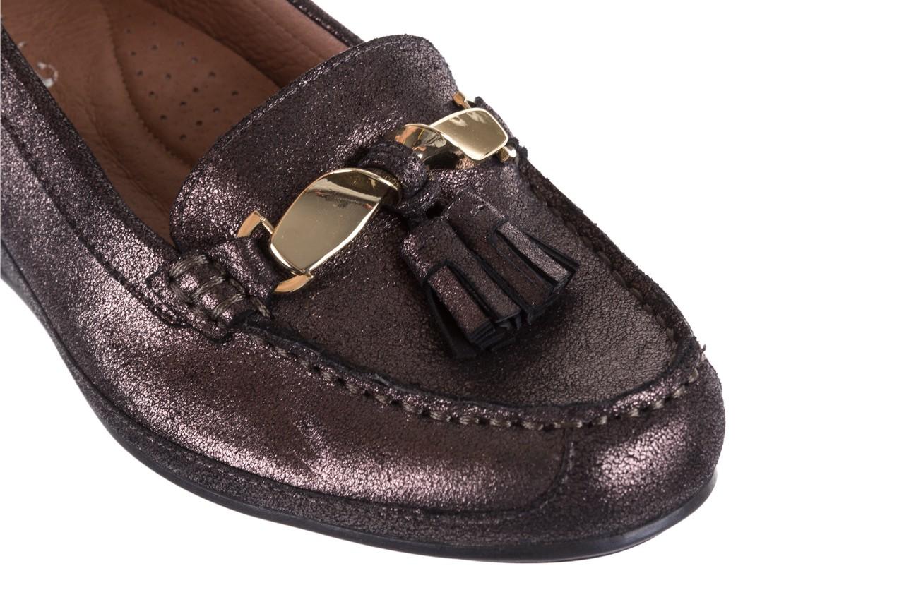 Mokasyny bayla-018 1647-35 grey, czarny, skóra naturalna  - na koturnie - półbuty - buty damskie - kobieta 11
