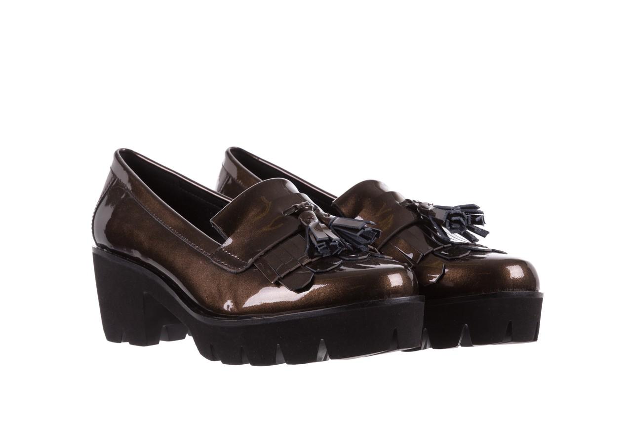 Mokasyny bayla-018 16471-x23 bronze, brąz, skóra naturalna lakierowana  - na obcasie - półbuty - buty damskie - kobieta 7