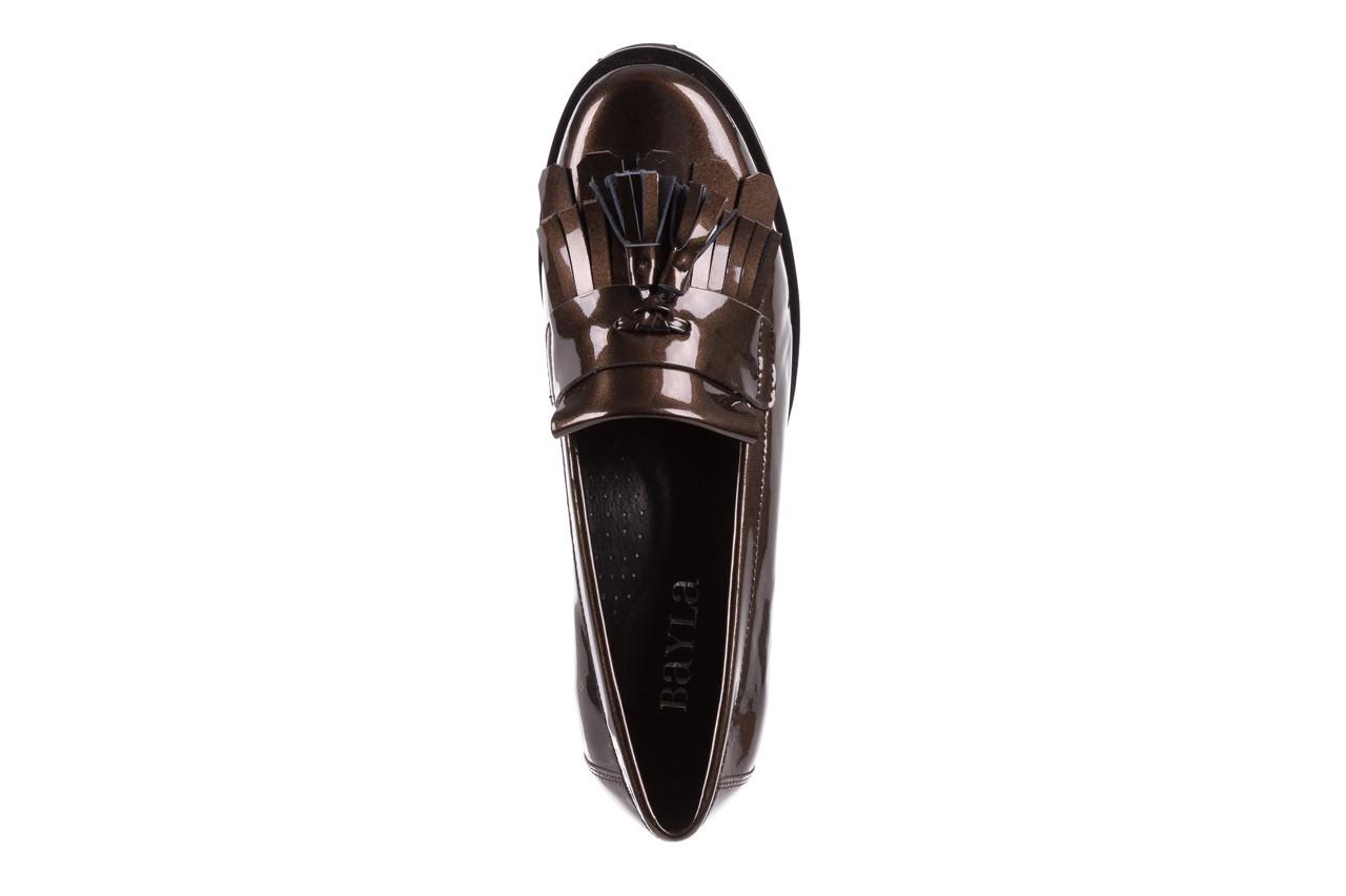Mokasyny bayla-018 16471-x23 bronze, brąz, skóra naturalna lakierowana  - na obcasie - półbuty - buty damskie - kobieta 10