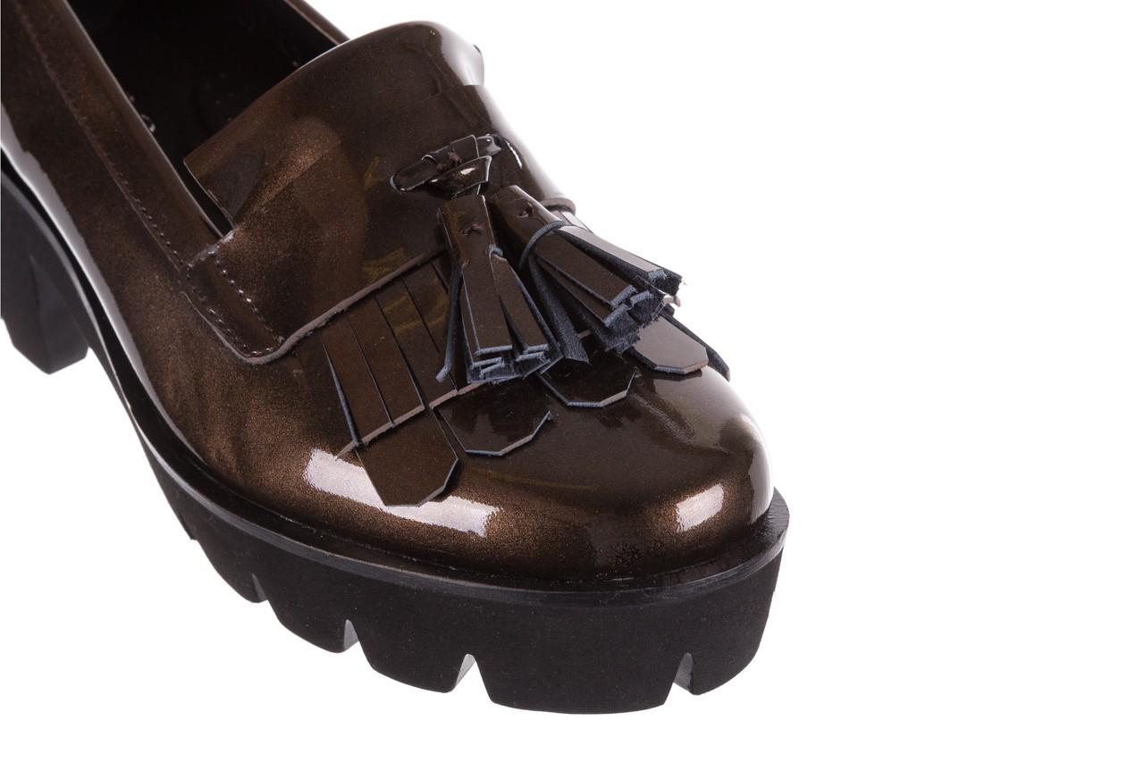 Mokasyny bayla-018 16471-x23 bronze, brąz, skóra naturalna lakierowana  - na obcasie - półbuty - buty damskie - kobieta 11