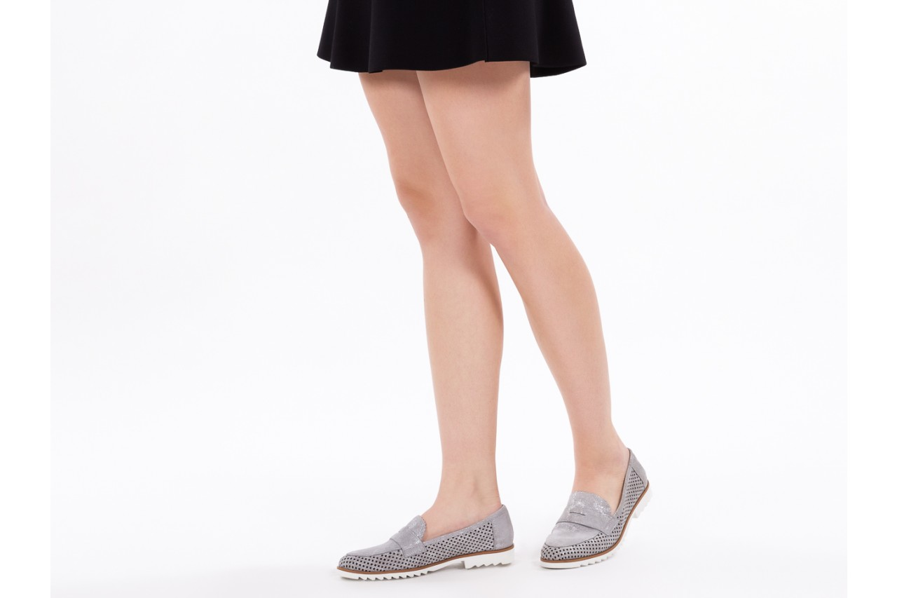 Mokasyny bayla-018 1133-x87 lt. grey 018509, szary, skóra naturalna  - zamszowe - półbuty - buty damskie - kobieta 13
