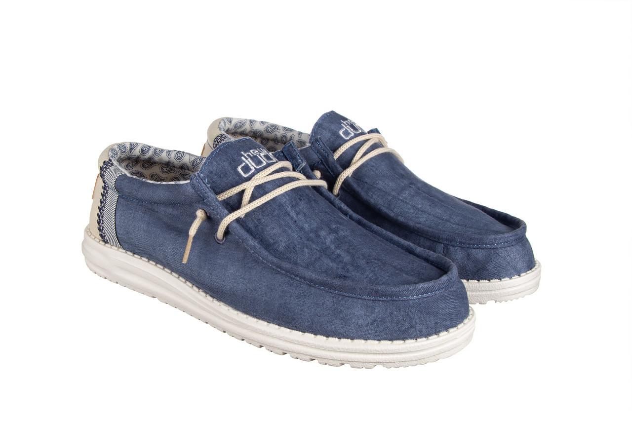 Półbuty heydude wally linen natural blue 003204, granat, materiał  - trendy - mężczyzna 9