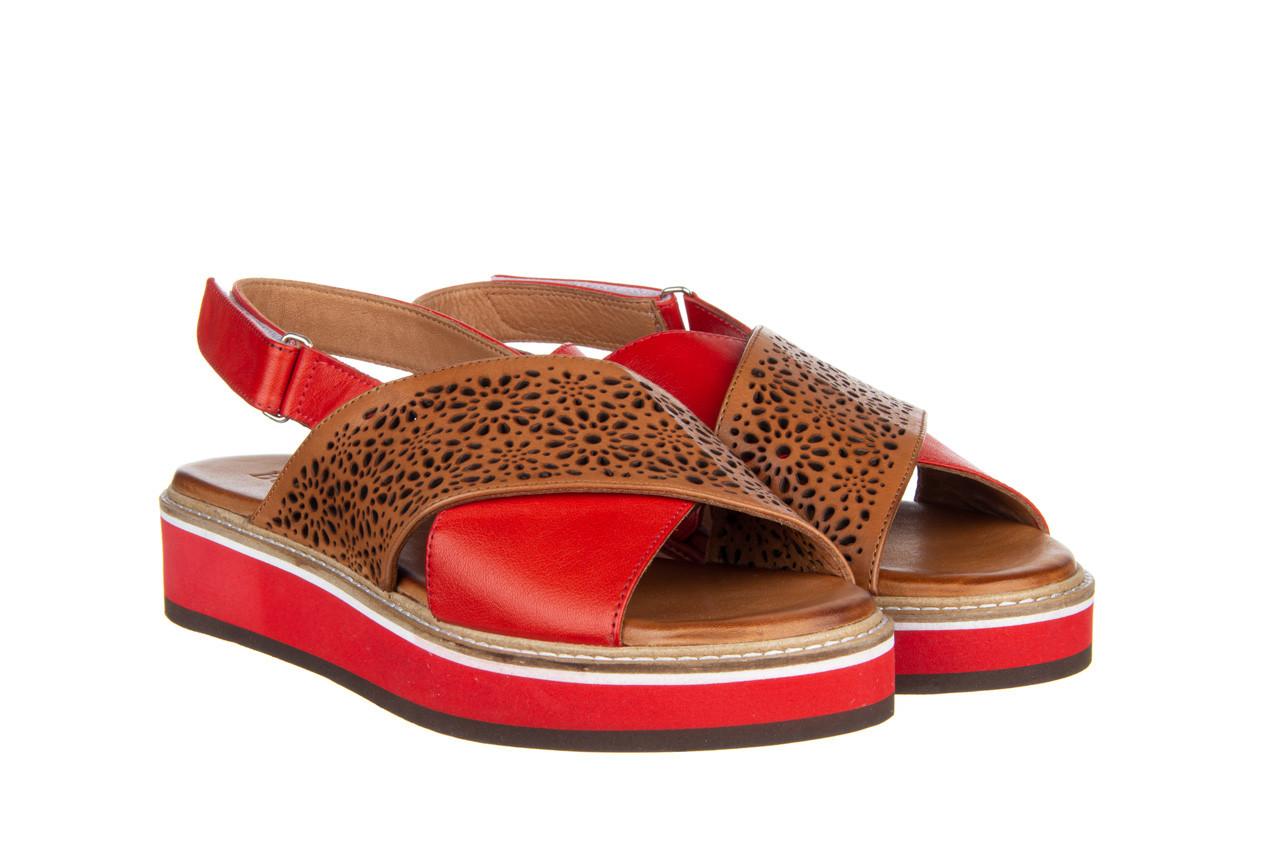 Sandały bayla-161 105 2014 coconut red 161212, czerwony/ brąz, skóra naturalna  - skórzane - sandały - buty damskie - kobieta 10