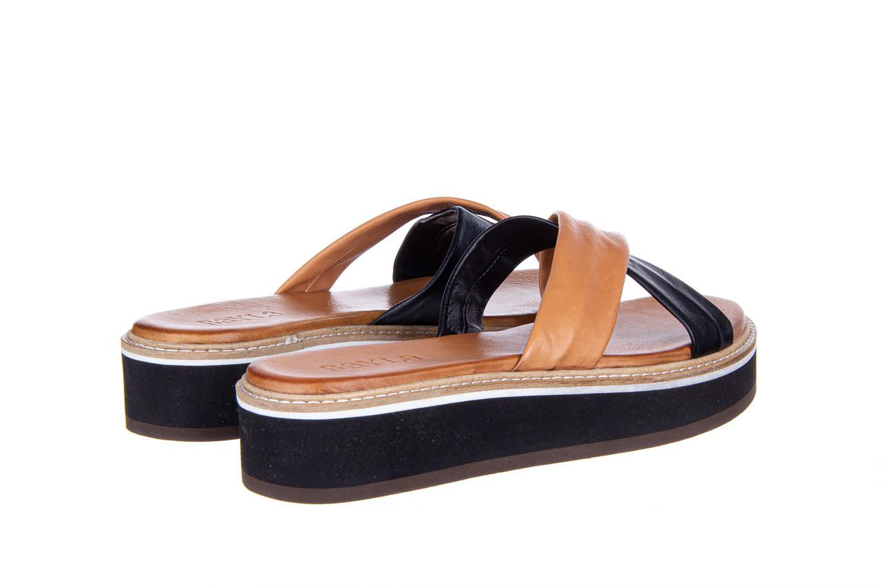 Klapki bayla-161 105 6004 black tan 161214, czarny/ brąz, skóra naturalna  - klapki - buty damskie - kobieta 11