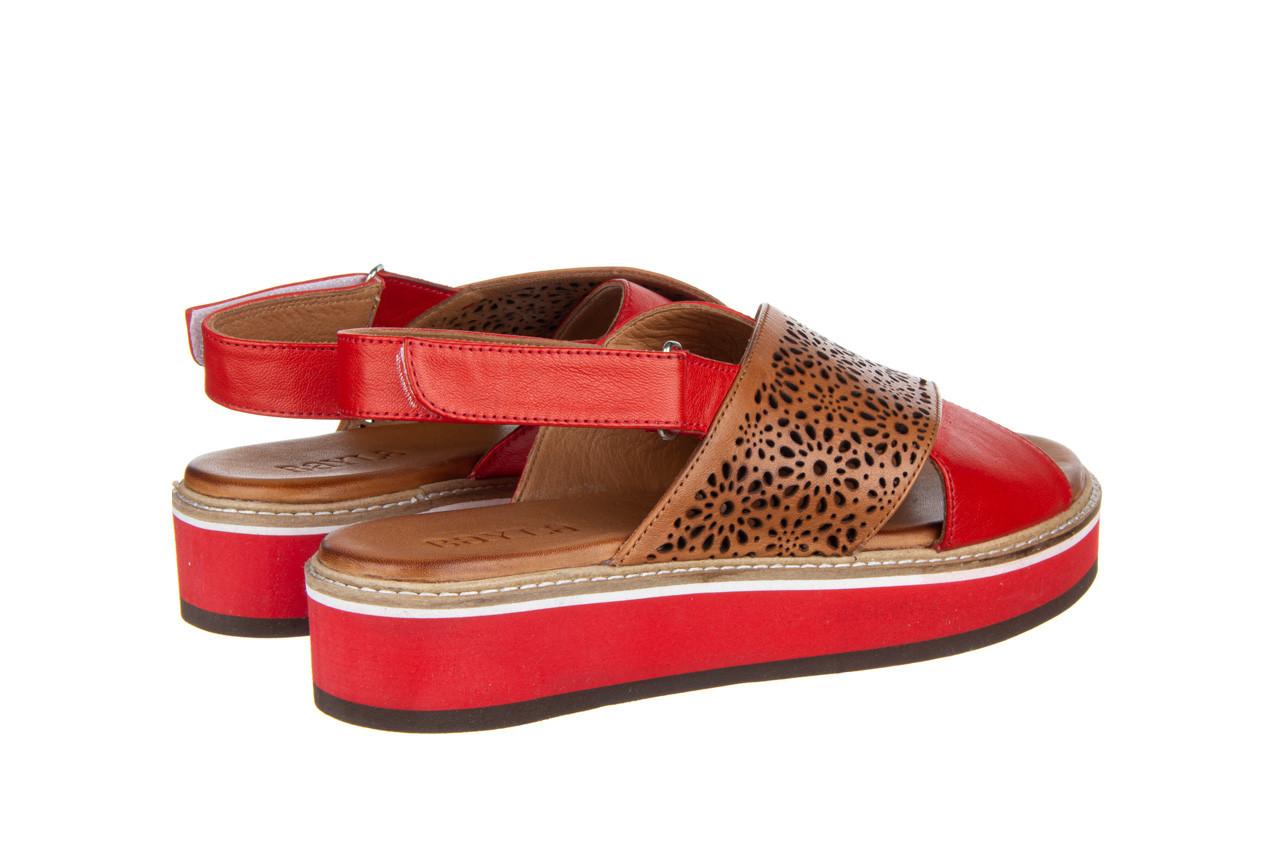 Sandały bayla-161 105 2014 coconut red 161212, czerwony/ brąz, skóra naturalna  - skórzane - sandały - buty damskie - kobieta 12