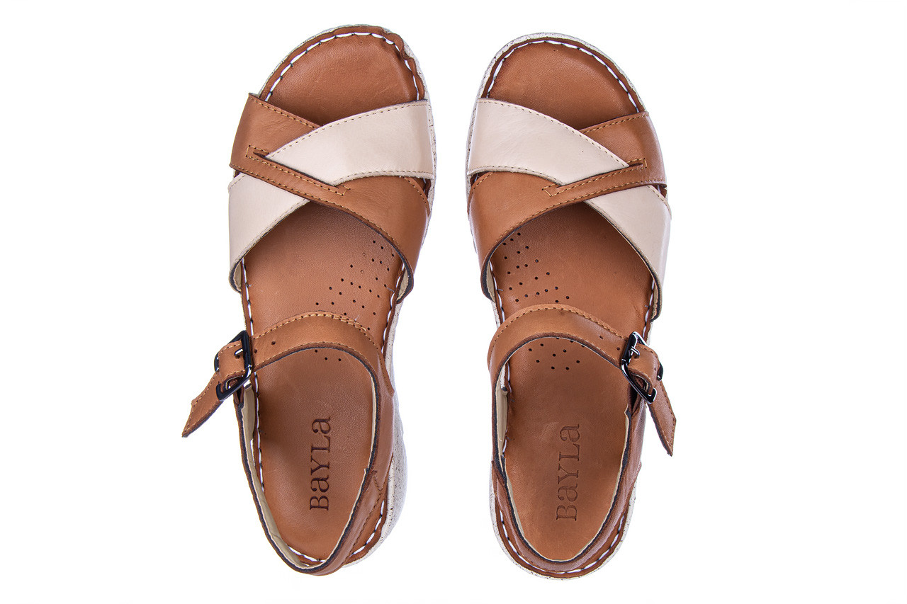 Sandały bayla-161 016 981 beige coconut 161197, brąz/ beż, skóra naturalna  - bayla - nasze marki 12