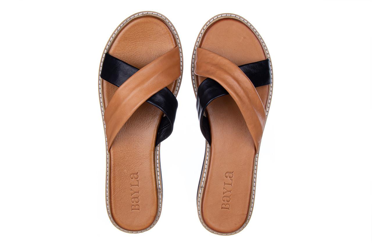 Klapki bayla-161 105 6004 black tan 161214, czarny/ brąz, skóra naturalna  - klapki - buty damskie - kobieta 12