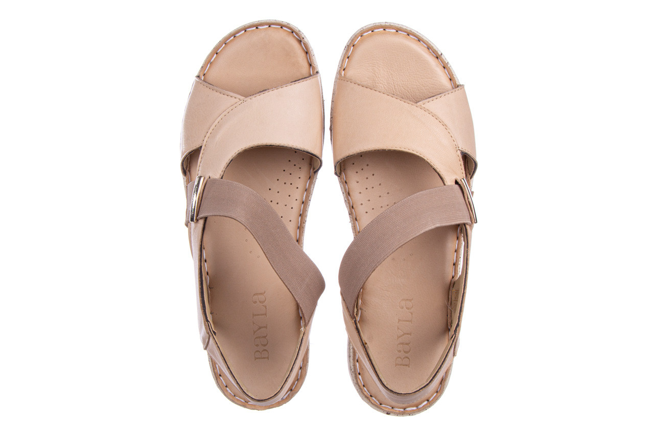 Sandały bayla-161 016 901 beige 161190, beż, skóra naturalna 12
