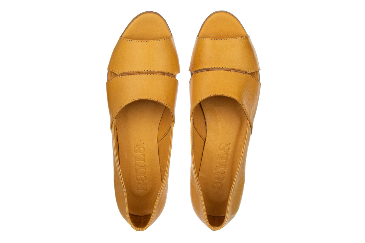 Baleriny bayla-161 138 80123 noce 161225, żółty, skóra naturalna  - skórzane - baleriny - buty damskie - kobieta 12