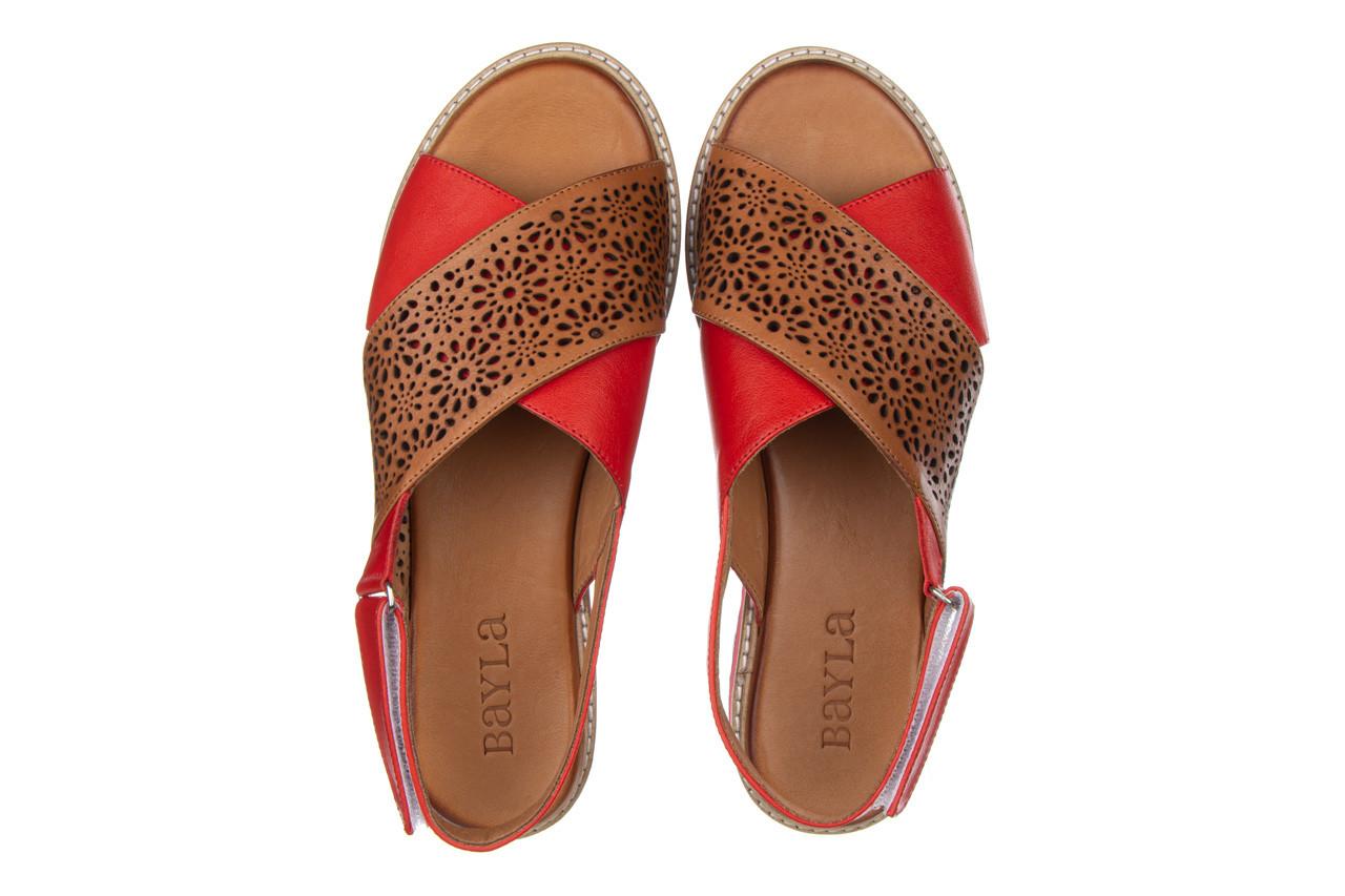 Sandały bayla-161 105 2014 coconut red 161212, czerwony/ brąz, skóra naturalna  - skórzane - sandały - buty damskie - kobieta 13
