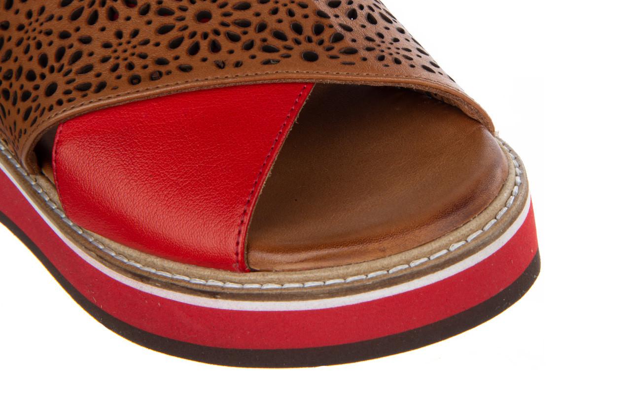 Sandały bayla-161 105 2014 coconut red 161212, czerwony/ brąz, skóra naturalna  - skórzane - sandały - buty damskie - kobieta 14