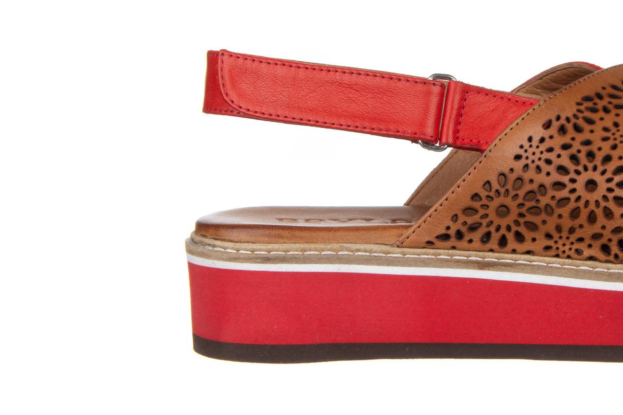 Sandały bayla-161 105 2014 coconut red 161212, czerwony/ brąz, skóra naturalna  - skórzane - sandały - buty damskie - kobieta 15