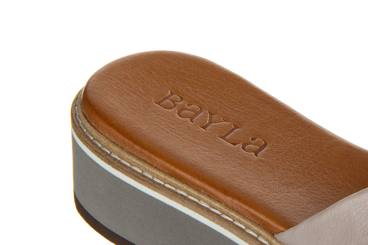 Klapki bayla-161 105 6004 grey tan 161215, szary/ brąz, skóra naturalna  - bayla - nasze marki 15