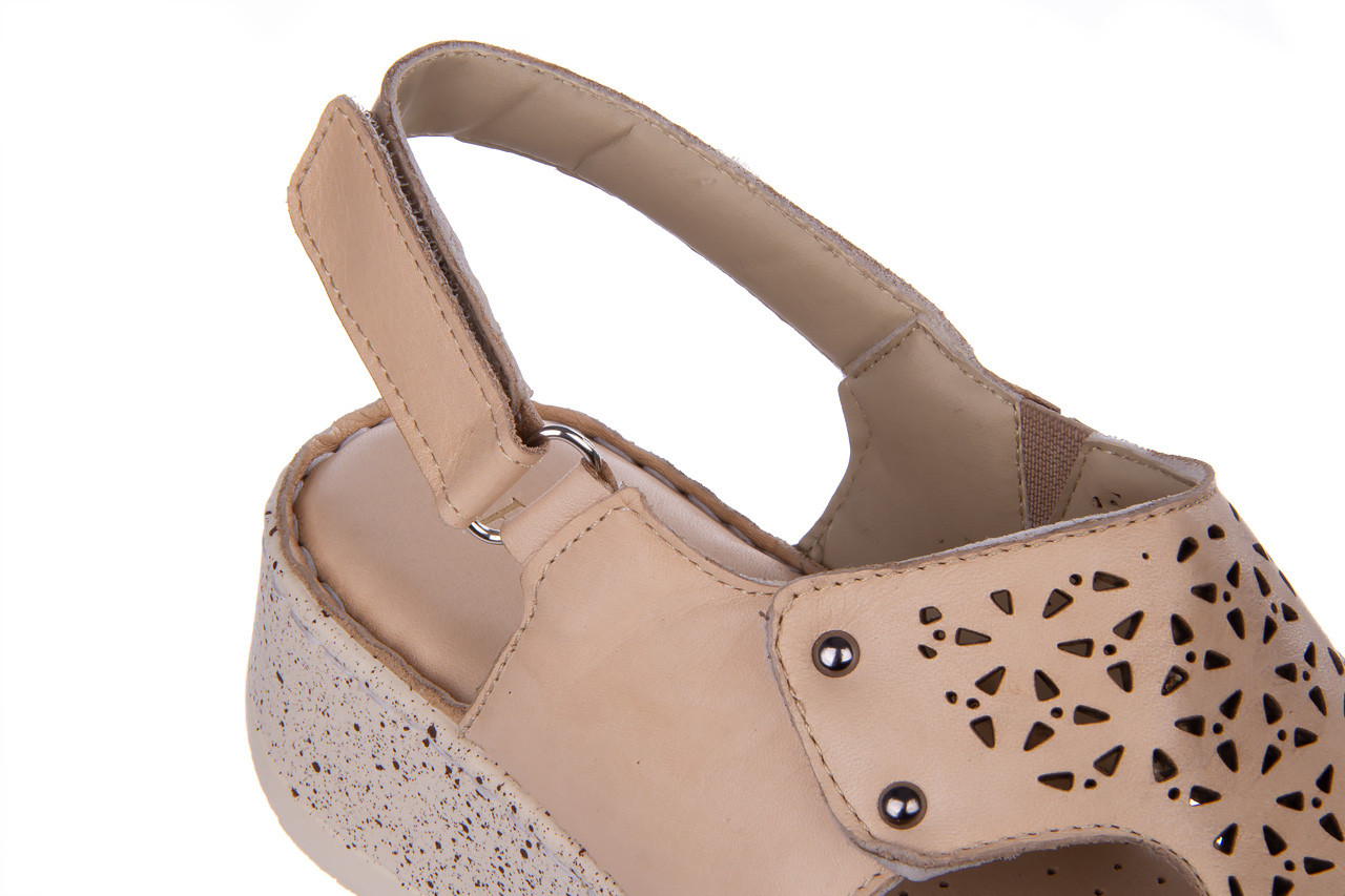 Sandały bayla-161 016 966 beige 161195, beż, skóra naturalna 16