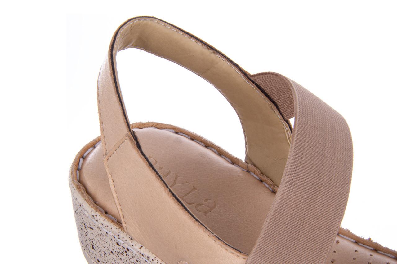 Sandały bayla-161 016 901 beige 161190, beż, skóra naturalna 15